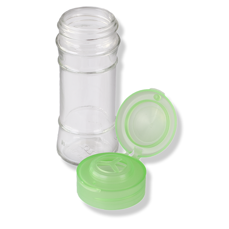 ANFRA All-porpouse Flip Top Green Translucent Cap For Herbs and Grain With Seal - Anfra Packaging
