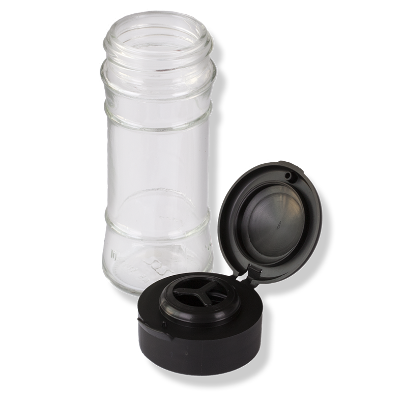 ANFRA All-porpouse Flip Top Black Translucent Cap For Herbs and Grain With Seal - Anfra Packaging