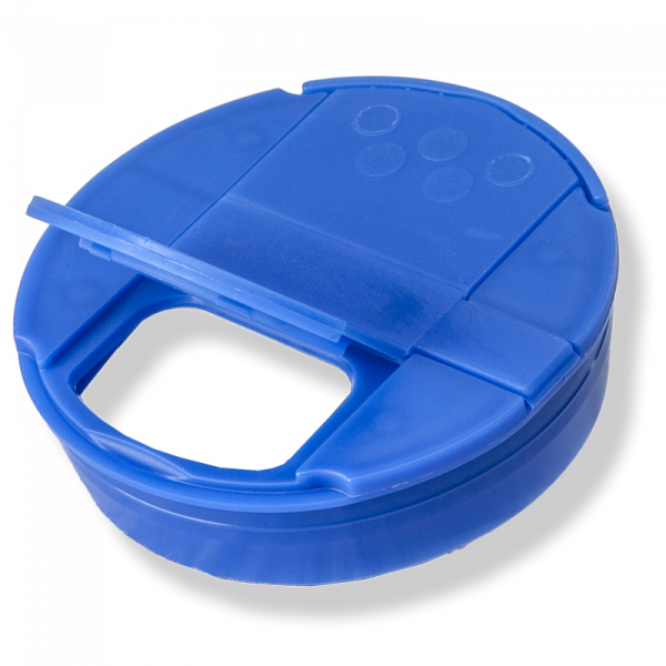 Couvercle Flapper Ø53mm  6 Trous Pression Bleu - Anfra Packaging