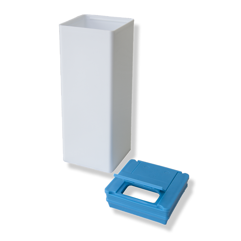 Labelled Square Canister + Cyan Blue Lid - Anfra Packaging