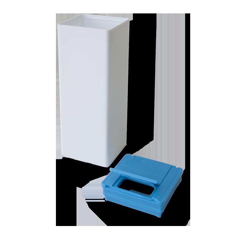 Bote Cuadrado Tapa Azul – Etiqueta Opcional - Anfra Packaging